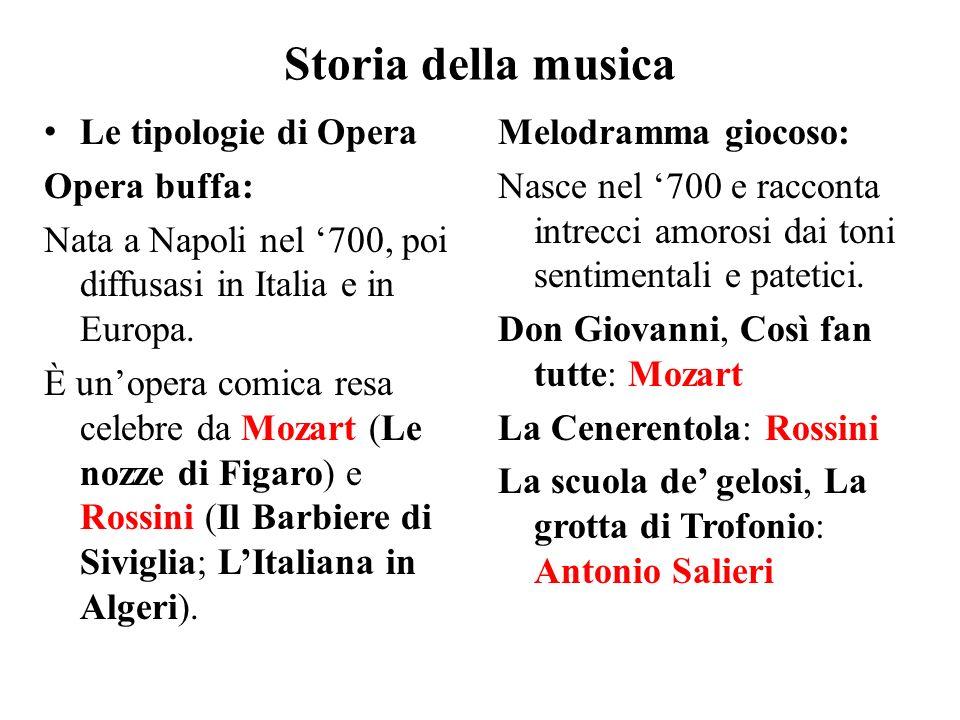 Storia della musica Le tipologie di Opera Opera buffa: