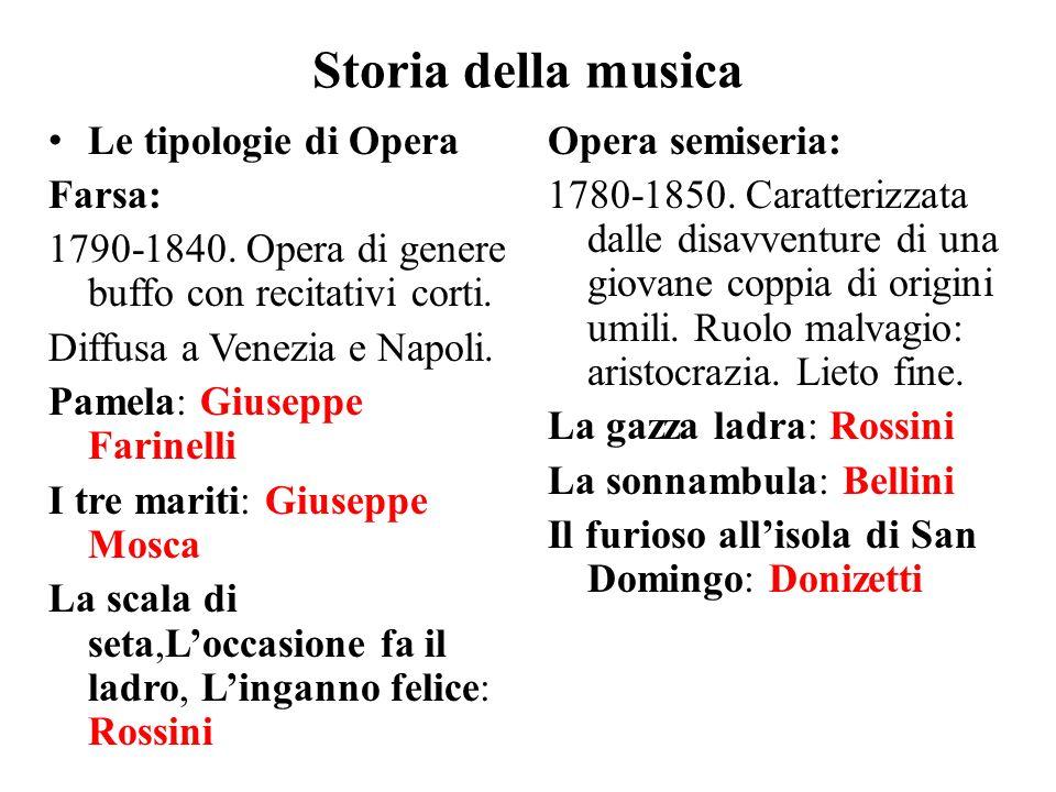 Storia della musica Le tipologie di Opera Farsa: