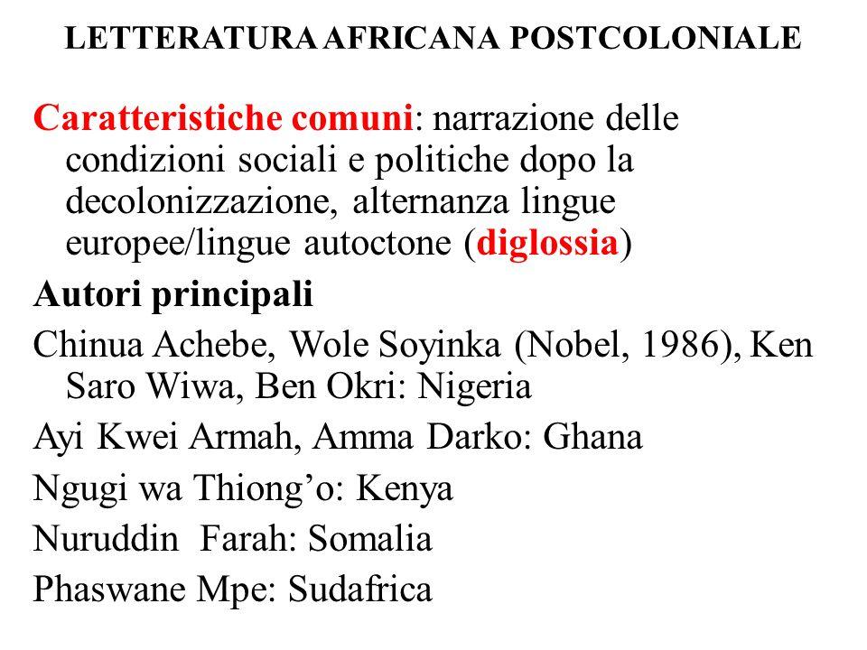 LETTERATURA AFRICANA POSTCOLONIALE