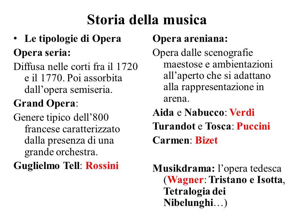 Storia della musica Le tipologie di Opera Opera seria: