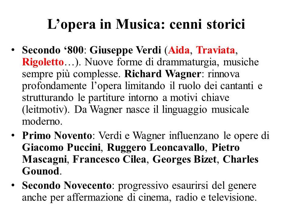 L'opera in Musica: cenni storici