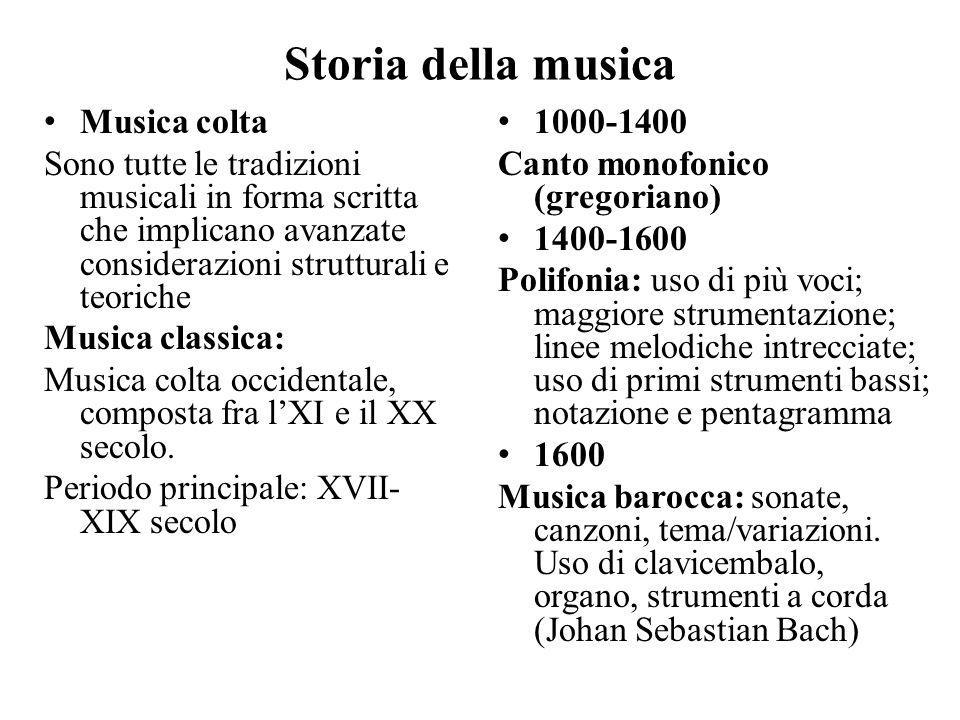 Storia della musica Musica colta