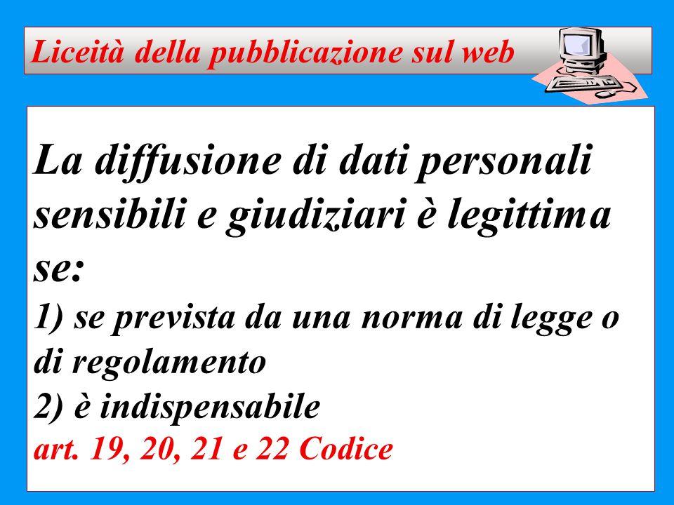 Liceità della pubblicazione sul web