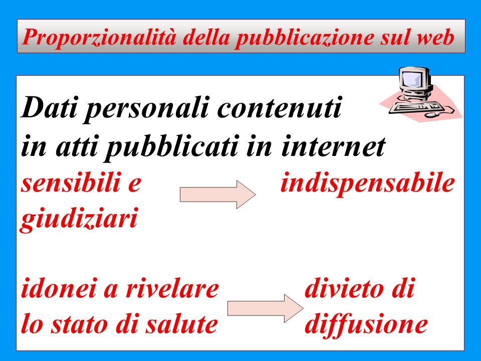 Proporzionalità della pubblicazione sul web