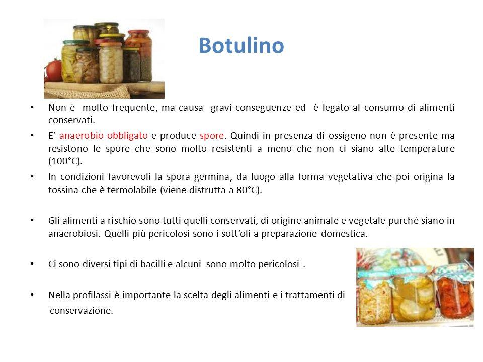 Botulino Non è molto frequente, ma causa gravi conseguenze ed è legato al consumo di alimenti conservati.