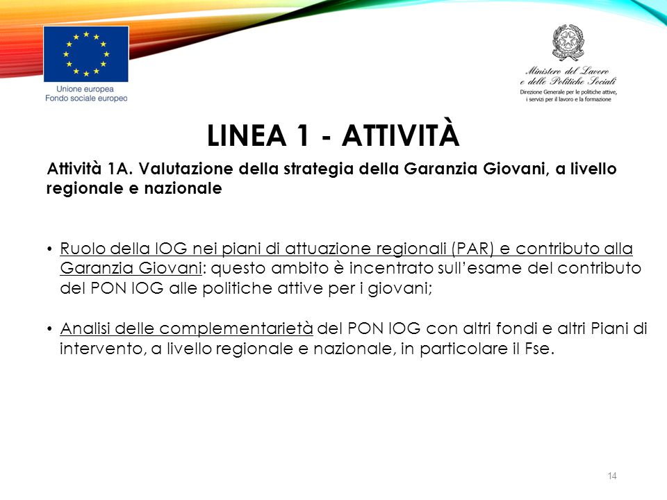 LINEA 1 - ATTIVITà Attività 1A. Valutazione della strategia della Garanzia Giovani, a livello regionale e nazionale.