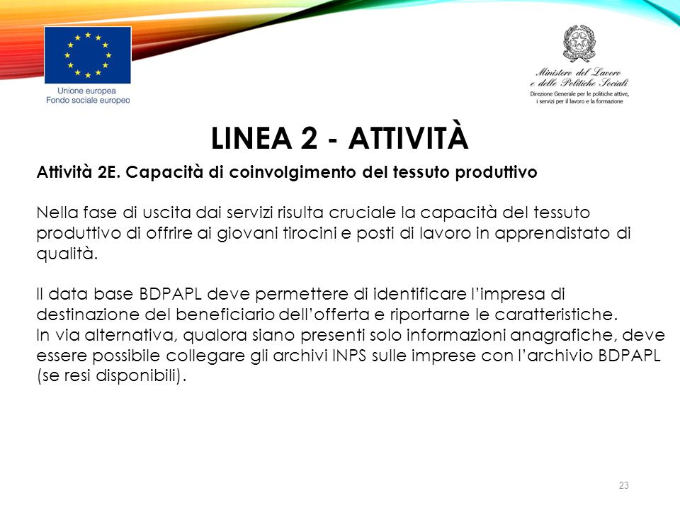 LINEA 2 - ATTIVITà Attività 2E. Capacità di coinvolgimento del tessuto produttivo.