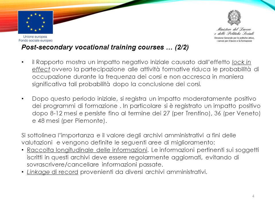 Post-secondary vocational training courses … (2/2)