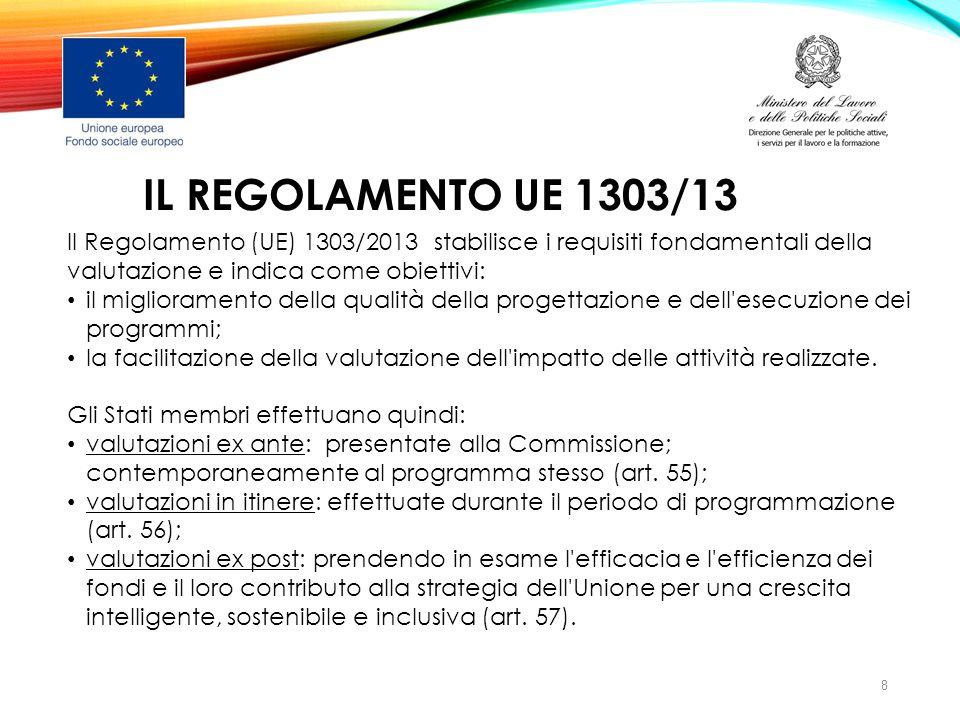 IL REGOLAMENTO UE 1303/13 Il Regolamento (UE) 1303/2013 stabilisce i requisiti fondamentali della valutazione e indica come obiettivi: