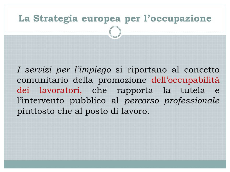 La Strategia europea per l'occupazione