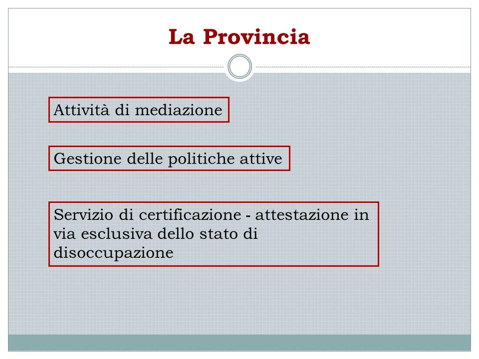 La Provincia Attività di mediazione Gestione delle politiche attive