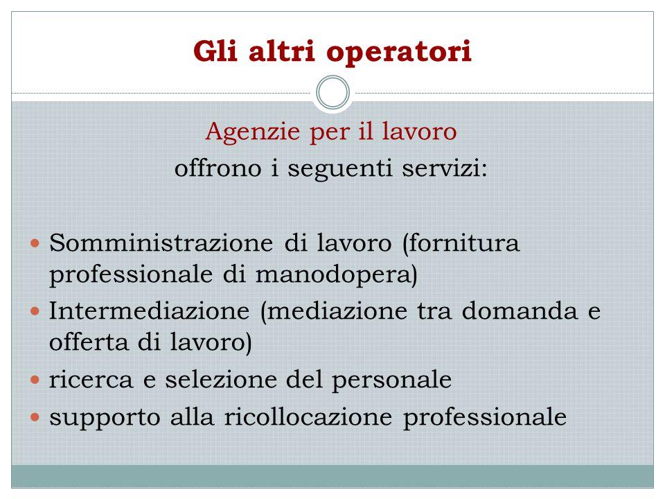 offrono i seguenti servizi:
