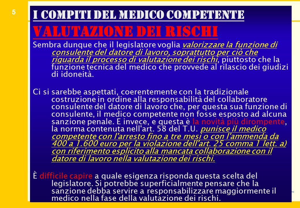 I compiti del medico competente valutazione dei rischi