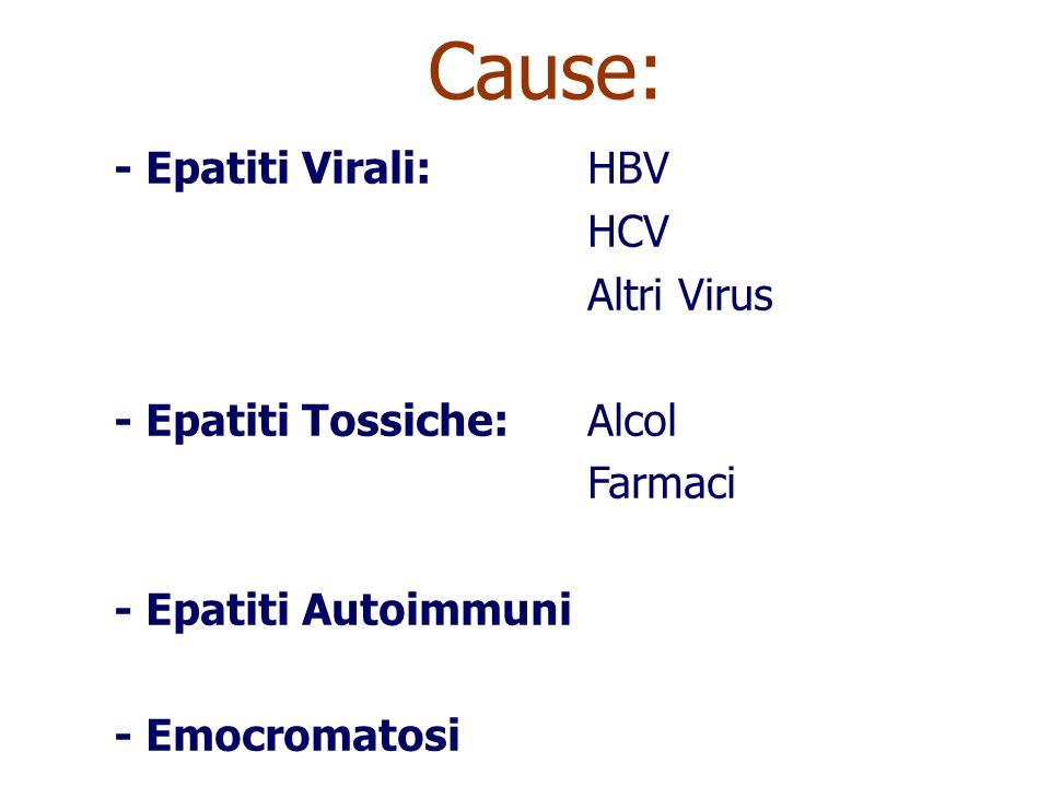 Cause: - Epatiti Virali: HBV HCV Altri Virus - Epatiti Tossiche: Alcol