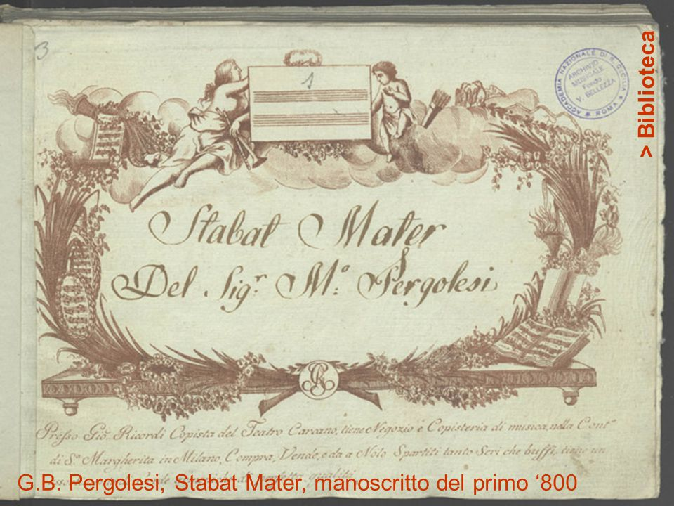 > Biblioteca G.B. Pergolesi, Stabat Mater, manoscritto del primo '800