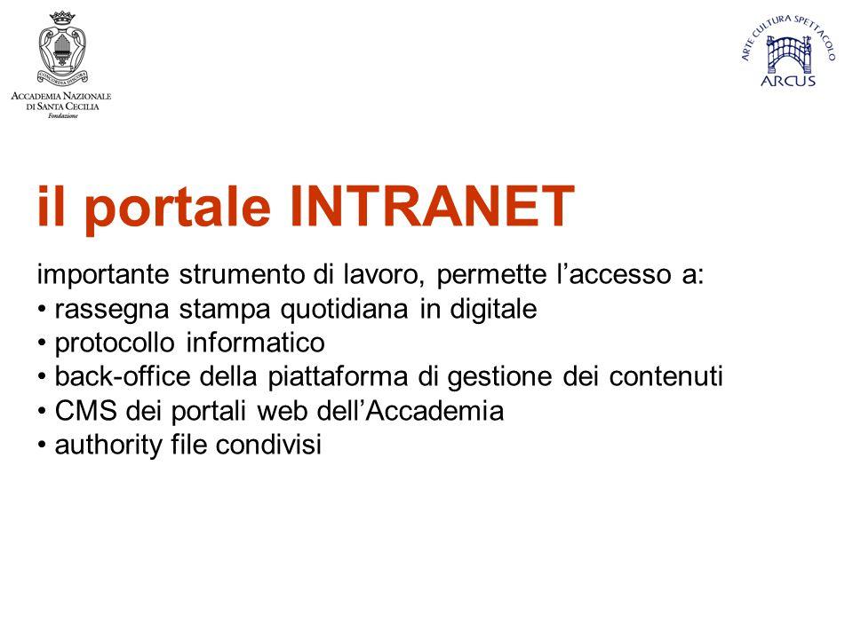 il portale INTRANET importante strumento di lavoro, permette l'accesso a: rassegna stampa quotidiana in digitale.
