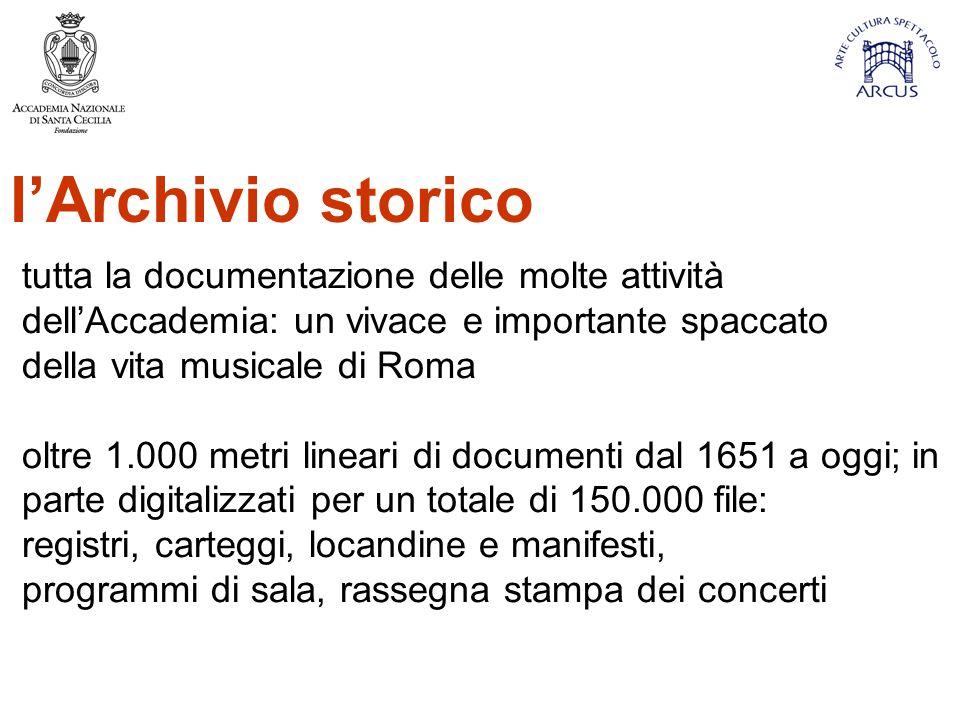 l'Archivio storico tutta la documentazione delle molte attività dell'Accademia: un vivace e importante spaccato.