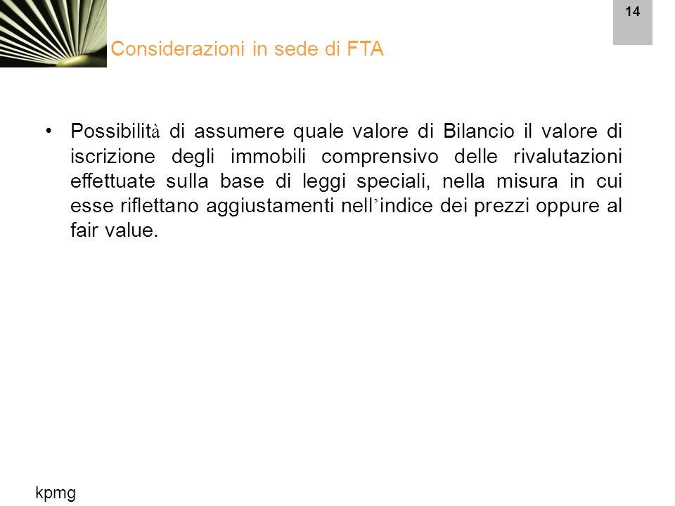 Considerazioni in sede di FTA