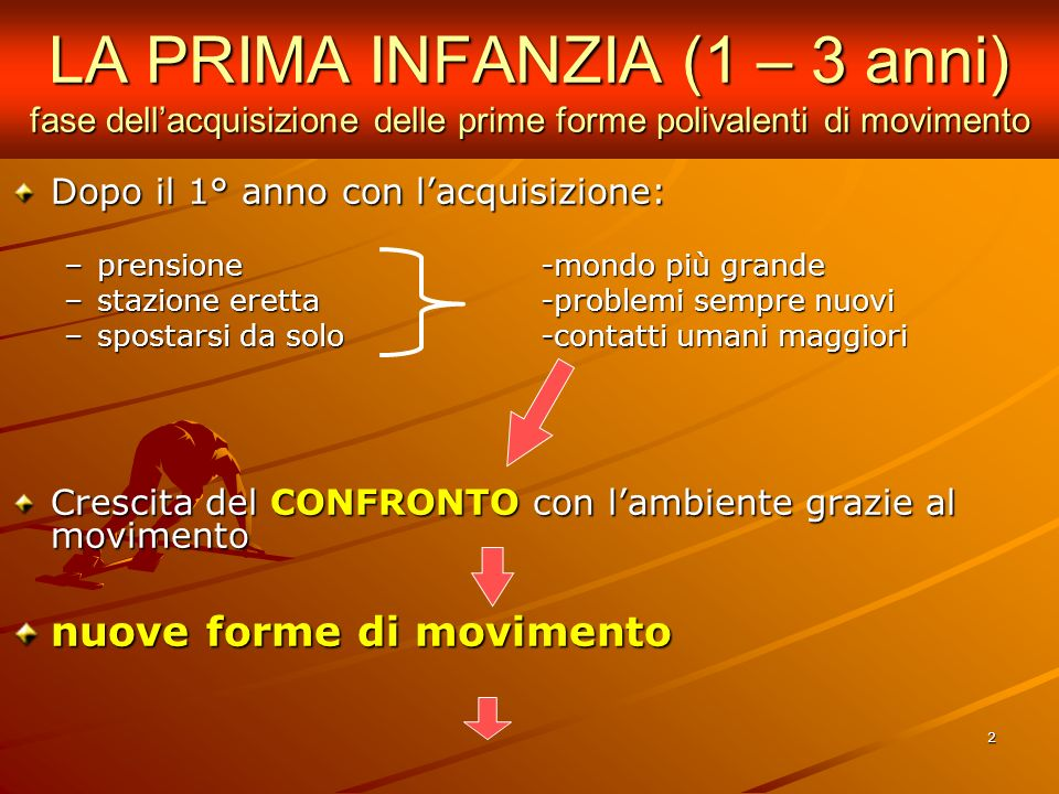 LA PRIMA INFANZIA (1 – 3 anni) fase dell'acquisizione delle prime forme polivalenti di movimento