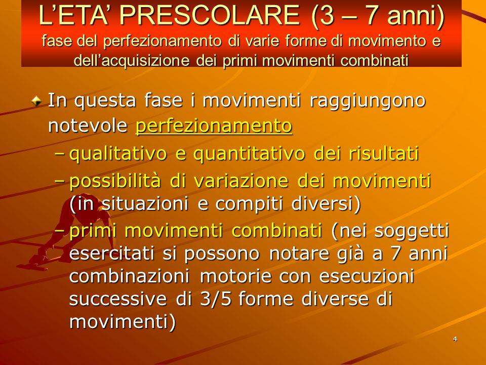 L'ETA' PRESCOLARE (3 – 7 anni) fase del perfezionamento di varie forme di movimento e dell'acquisizione dei primi movimenti combinati