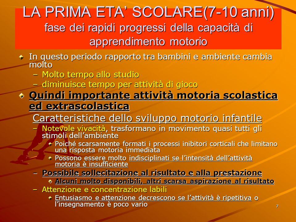 LA PRIMA ETA' SCOLARE(7-10 anni) fase dei rapidi progressi della capacità di apprendimento motorio