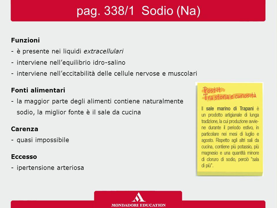 pag. 338/1 Sodio (Na) Funzioni - è presente nei liquidi extracellulari