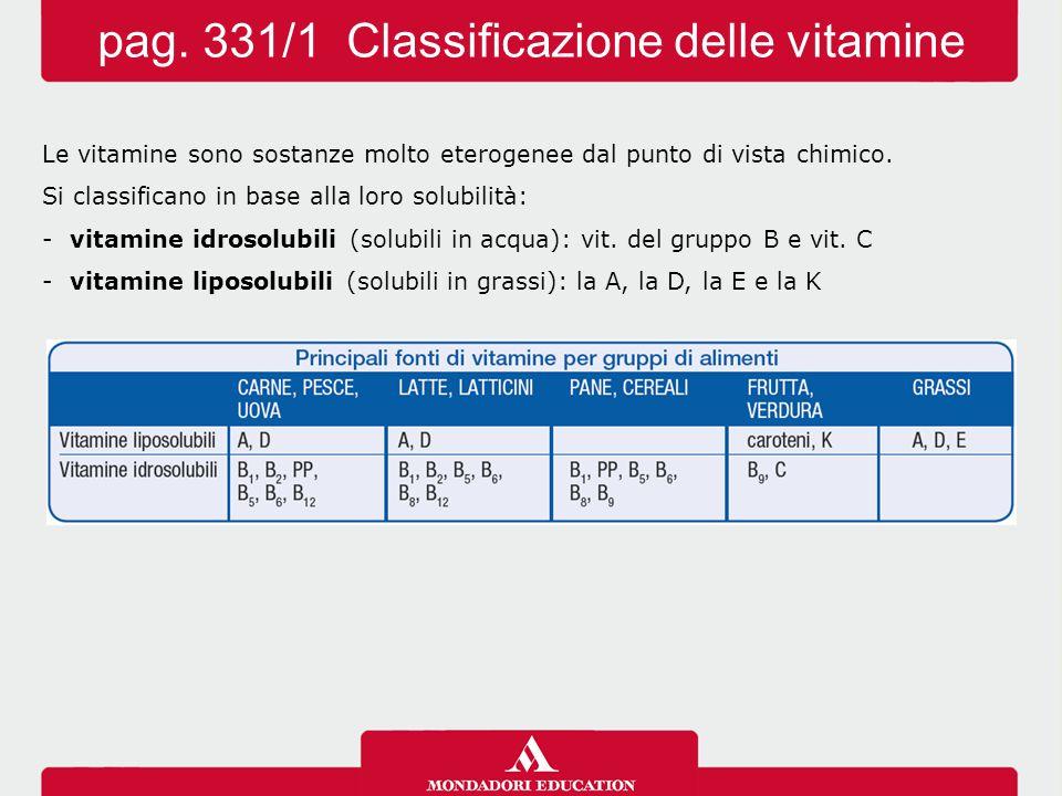 pag. 331/1 Classificazione delle vitamine