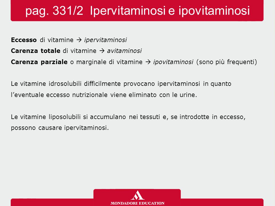 pag. 331/2 Ipervitaminosi e ipovitaminosi