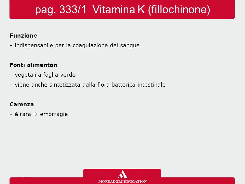 pag. 333/1 Vitamina K (fillochinone)