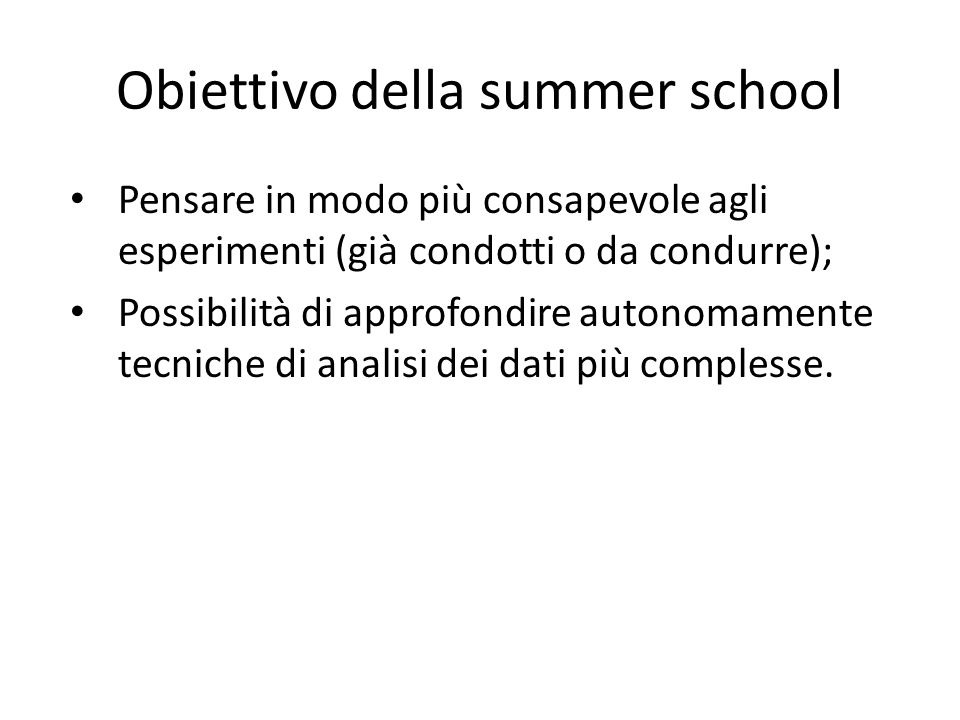 Obiettivo della summer school