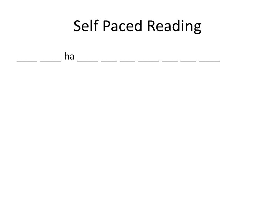 Self Paced Reading ____ ____ ha ____ ___ ___ ____ ___ ___ ____