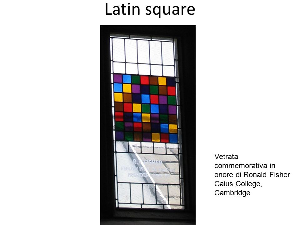 Latin square Vetrata commemorativa in onore di Ronald Fisher Caius College, Cambridge