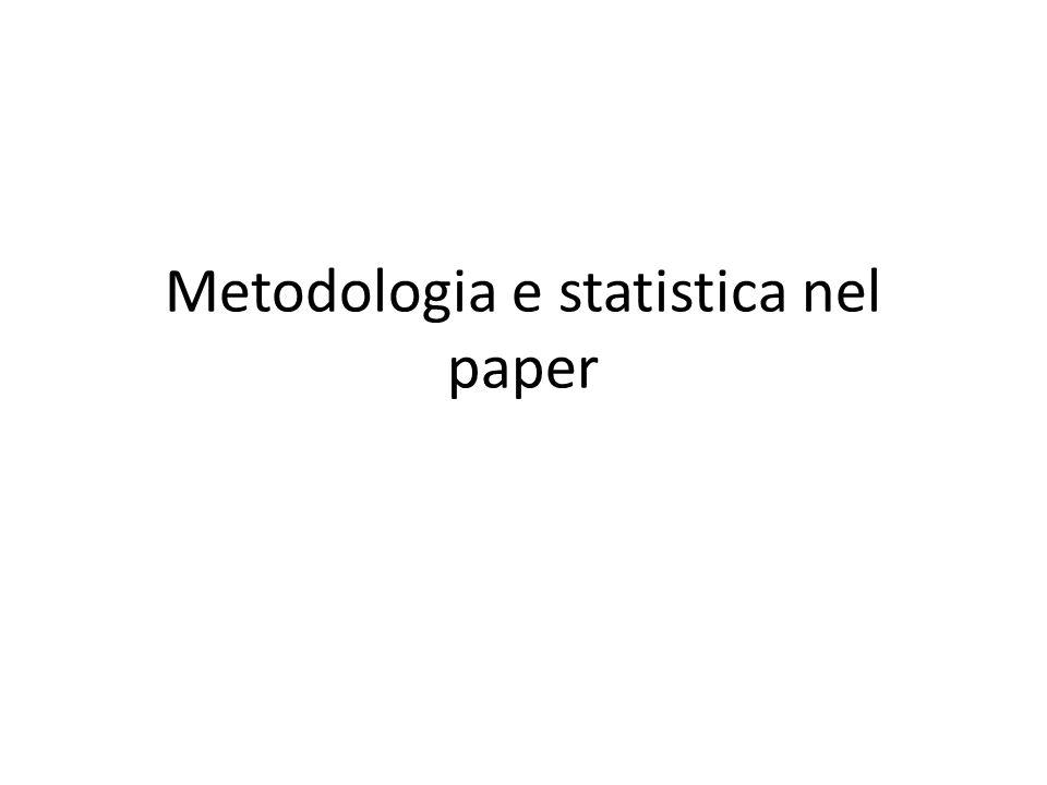 Metodologia e statistica nel paper