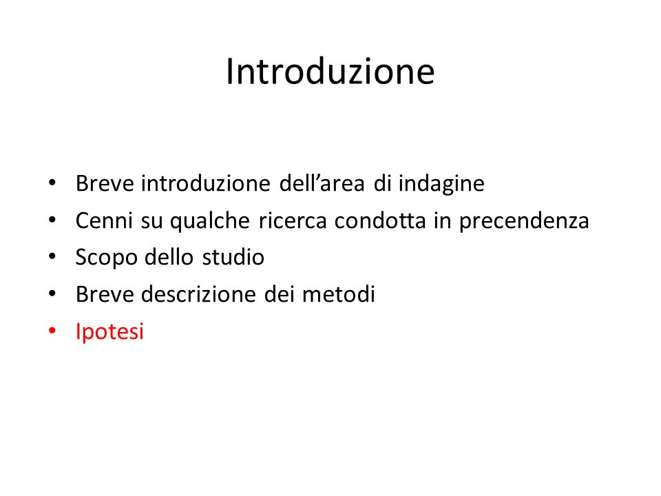 Introduzione Breve introduzione dell'area di indagine