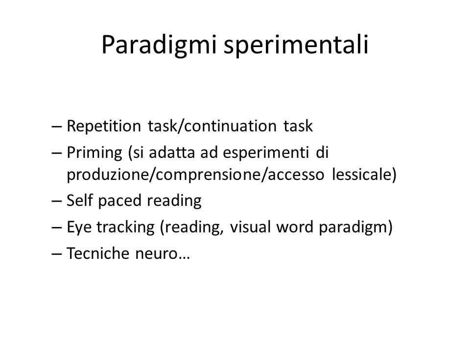 Paradigmi sperimentali