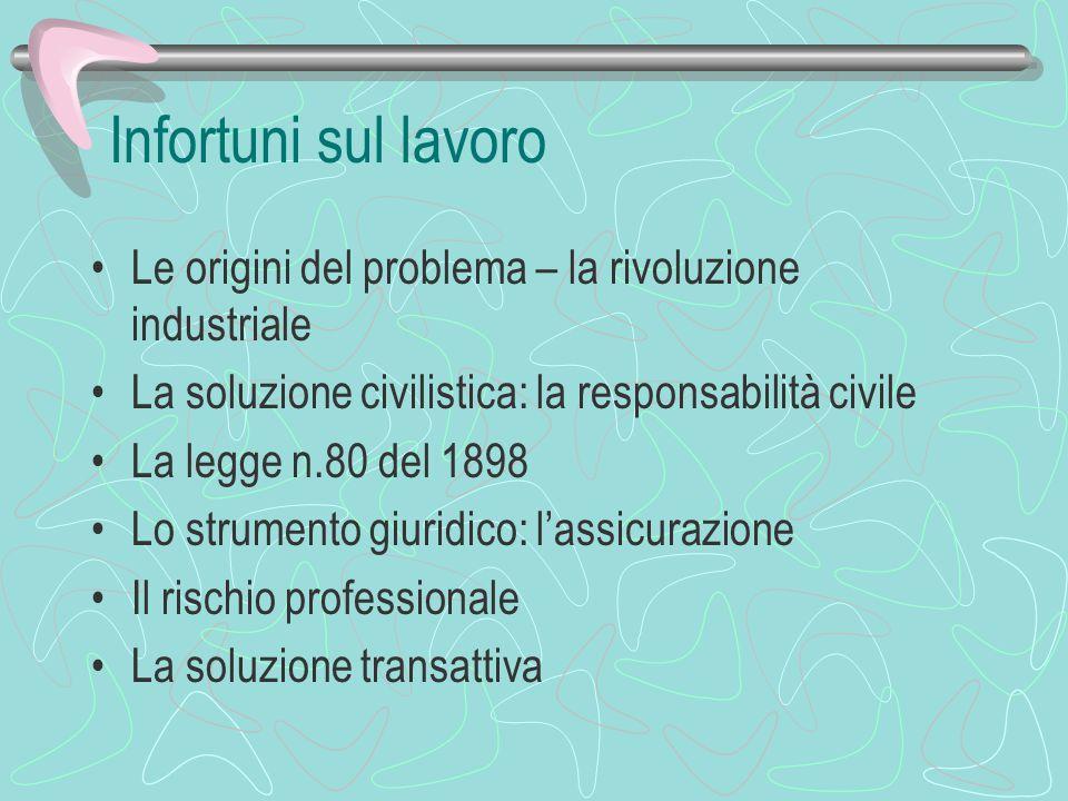 Infortuni sul lavoro Le origini del problema – la rivoluzione industriale. La soluzione civilistica: la responsabilità civile.