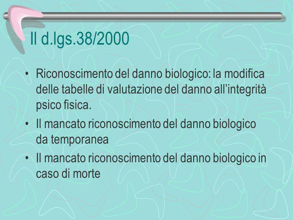 Il d.lgs.38/2000 Riconoscimento del danno biologico: la modifica delle tabelle di valutazione del danno all'integrità psico fisica.