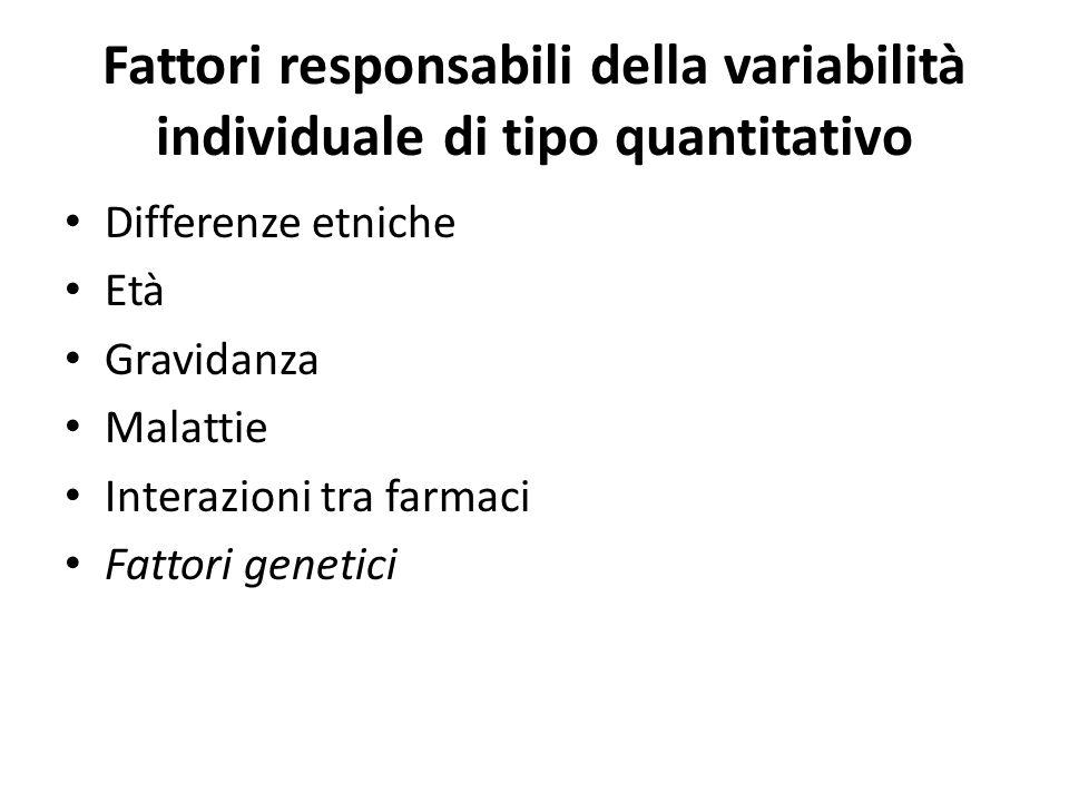 Fattori responsabili della variabilità individuale di tipo quantitativo