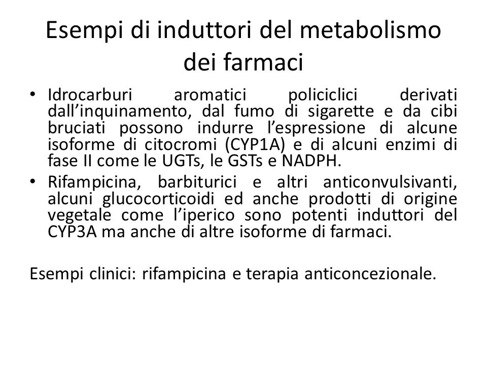 Esempi di induttori del metabolismo dei farmaci