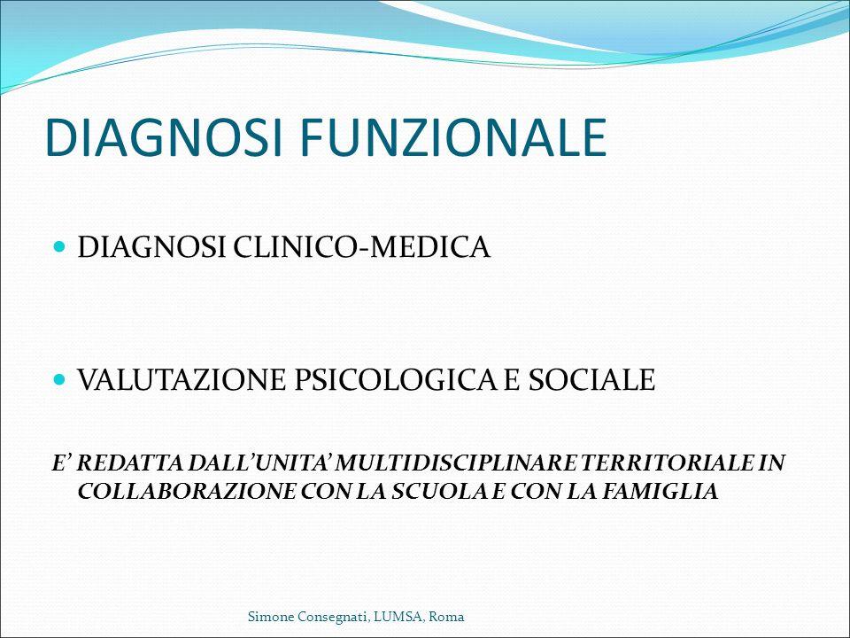 DIAGNOSI FUNZIONALE DIAGNOSI CLINICO-MEDICA