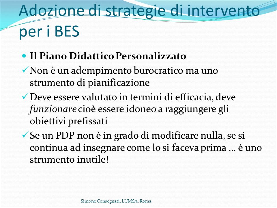 Adozione di strategie di intervento per i BES
