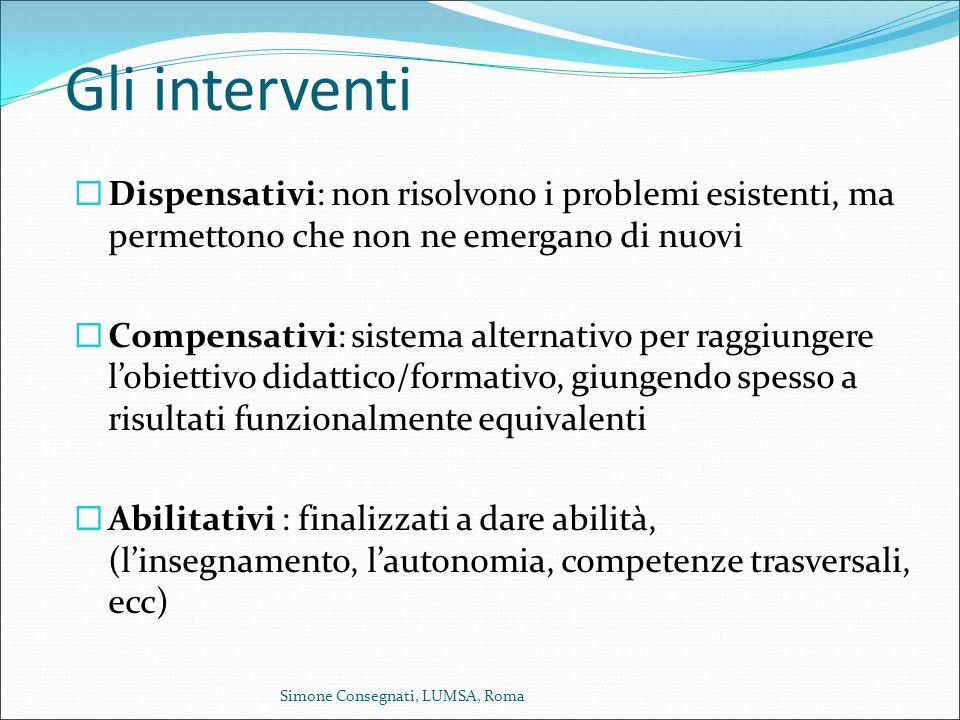 Gli interventi Dispensativi: non risolvono i problemi esistenti, ma permettono che non ne emergano di nuovi.