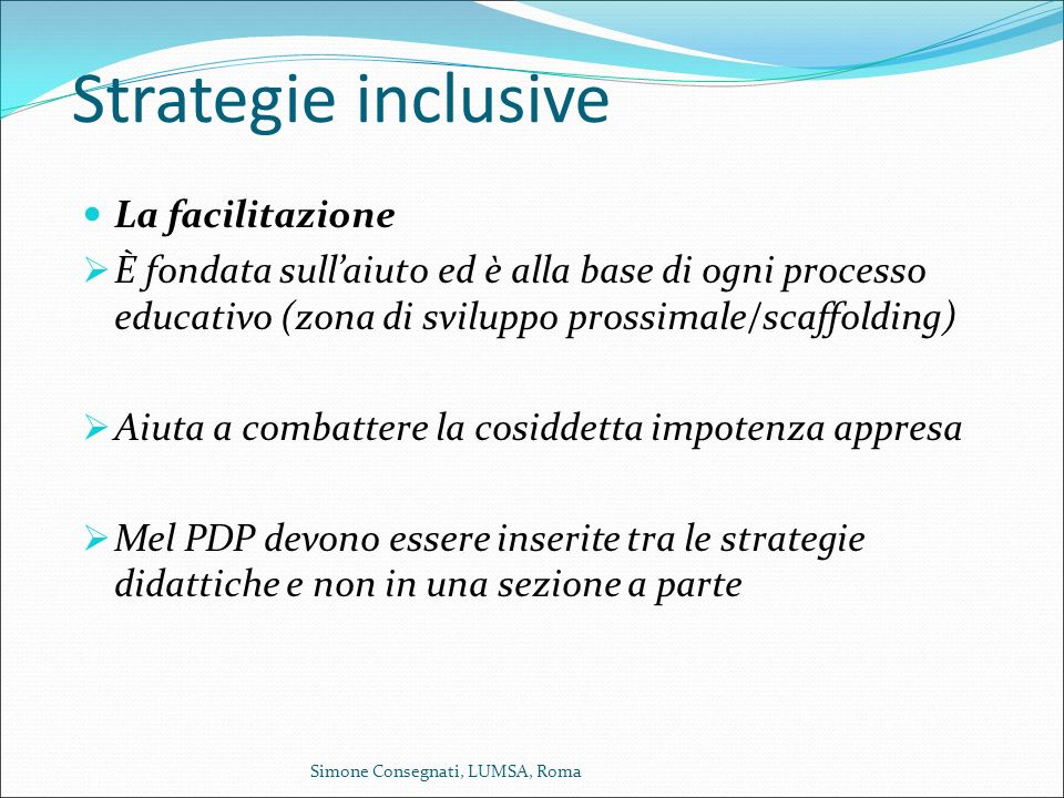 Strategie inclusive La facilitazione