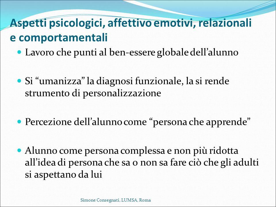 Aspetti psicologici, affettivo emotivi, relazionali e comportamentali