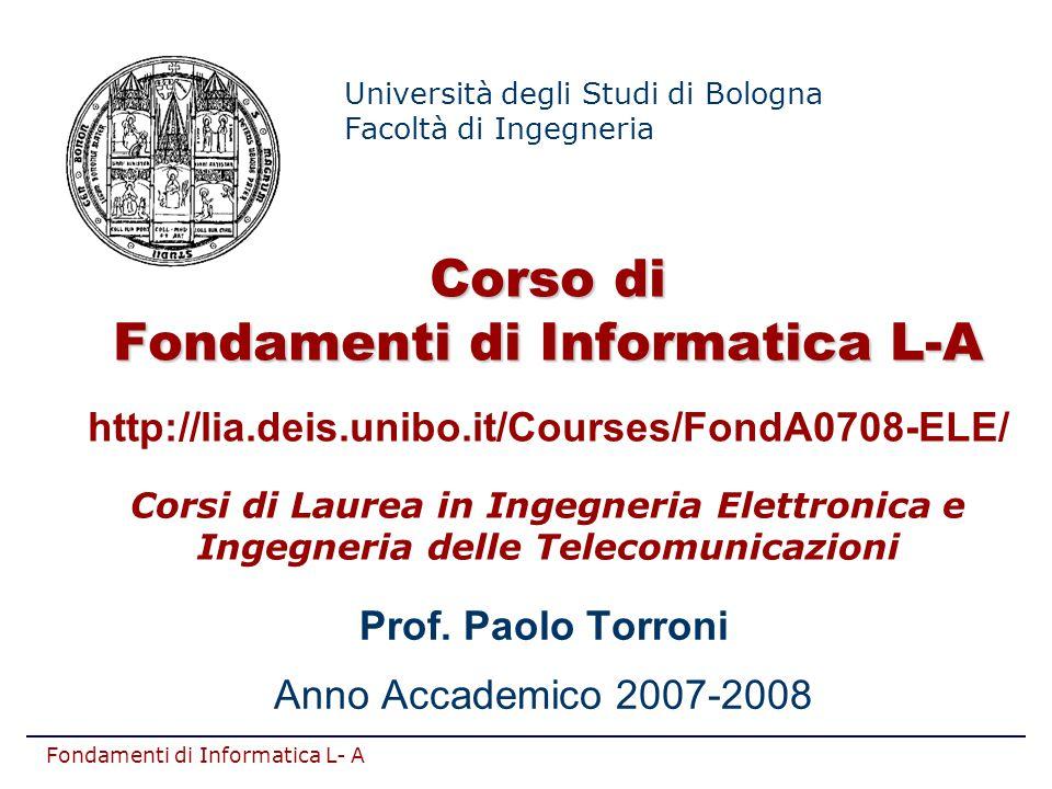 Prof. Paolo Torroni Anno Accademico 2007-2008