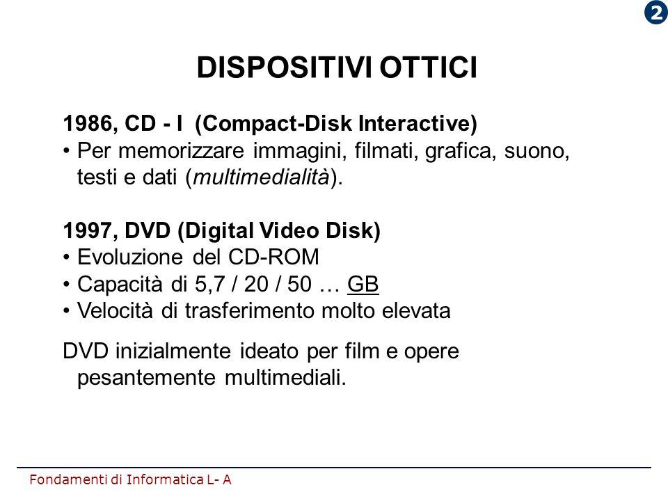 DISPOSITIVI OTTICI 1986, CD - I (Compact-Disk Interactive)
