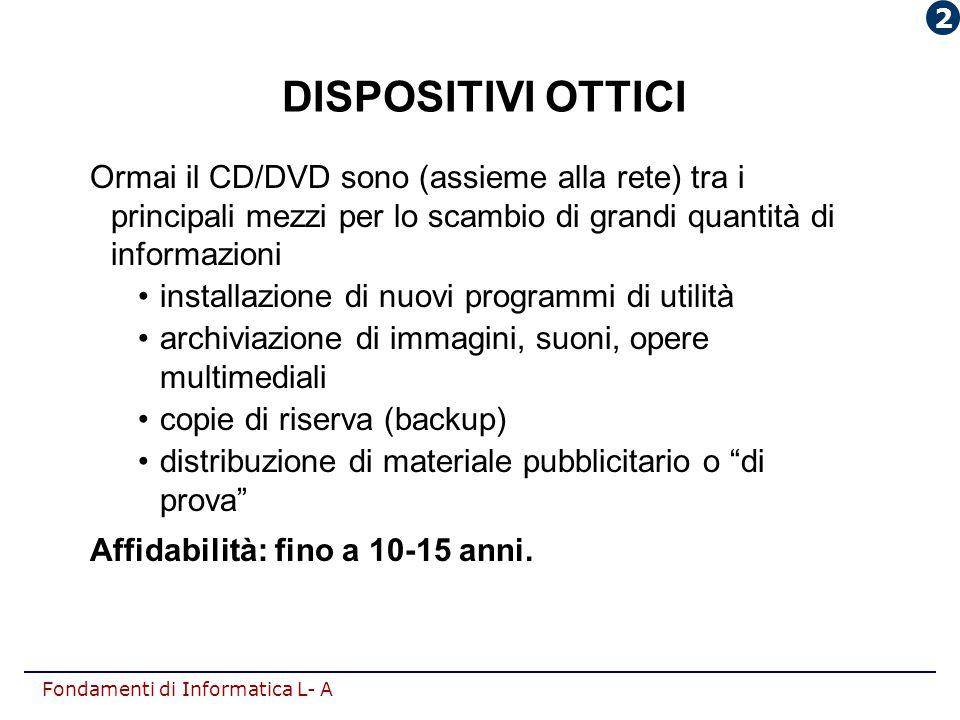 2 DISPOSITIVI OTTICI. Ormai il CD/DVD sono (assieme alla rete) tra i principali mezzi per lo scambio di grandi quantità di informazioni.