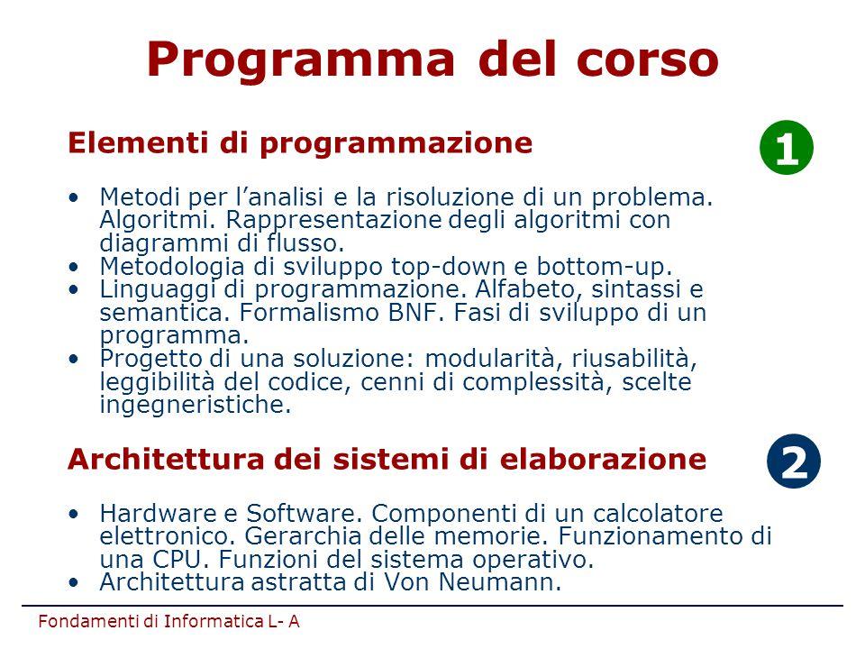 Programma del corso 1 2 Elementi di programmazione