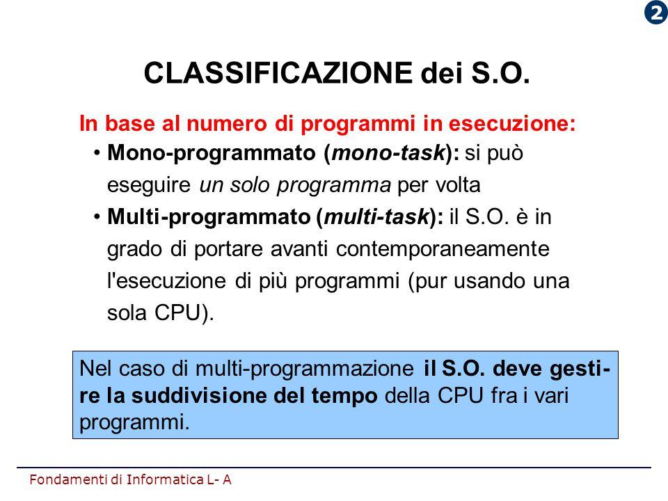 CLASSIFICAZIONE dei S.O.
