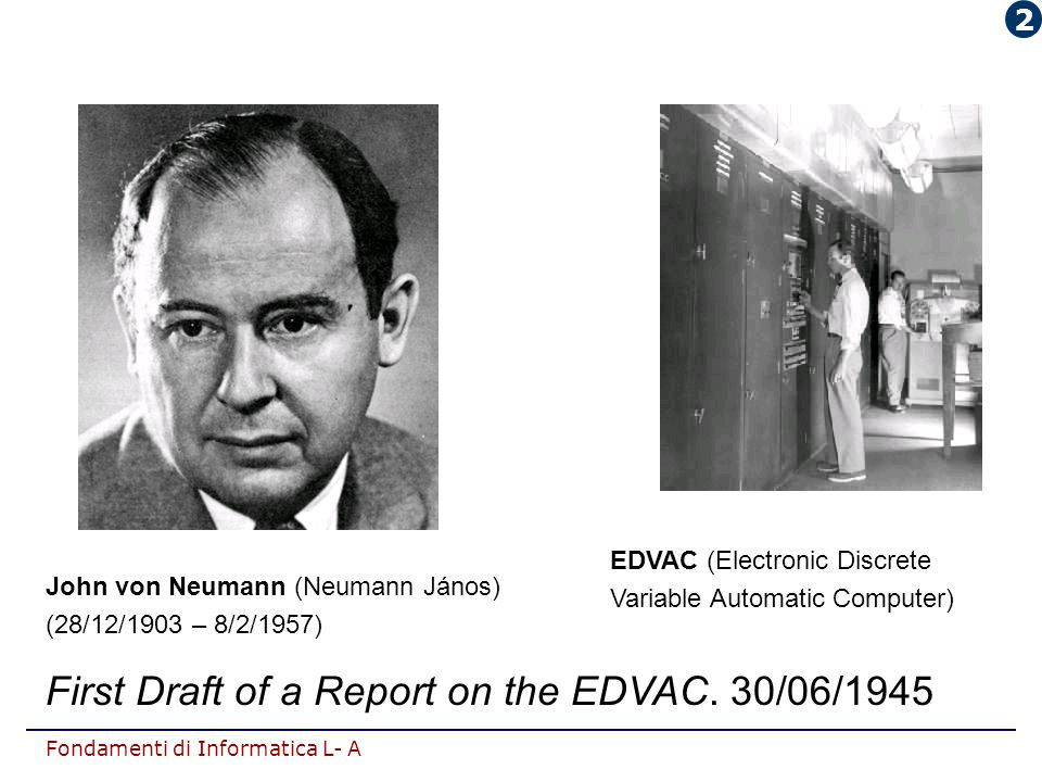 First Draft of a Report on the EDVAC. 30/06/1945